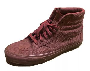 VANS Mens US 9.5 Hi-Top Burgundy Red Snake Skin Print Shoes Rare Limited Edition for Sale in Las Vegas, NV