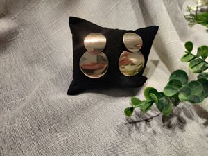 Vintage metal Round Hollow Earrings Geometric Double Layers Earrings, Gold Color for Sale in Irvine, CA