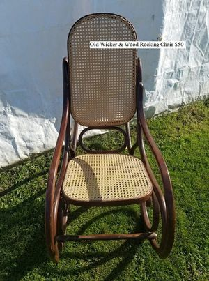 Old Wicker & Wood Rocking Chair $50 for Sale in Dresden, OH