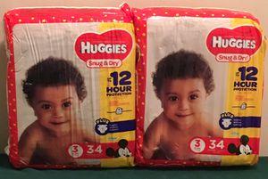 Huggies Snug & Dry Diapers Size 3, 34 ct (Pack of 2) for Sale in Atlanta, GA