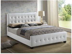 Queen bed frame (white leather) for Sale in Miami, FL