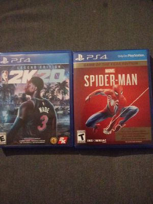 NBA 2k20 and Spiderman Game of The Year Edition(must come to me for purchase) for Sale in Falls Church, VA