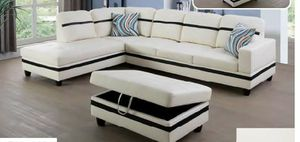 $39 down 100 days no interest white black faux leather sectional storage ottoman and pillows for Sale in College Park, MD
