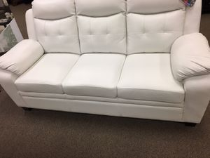 White Leather Sofa Couch!! Brand new Free Delivery for Sale in Chicago, IL