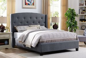 New queen size gray nail trim bed with plush mattress free delivery for Sale in Irving, TX