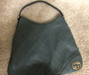 Gucci blue/grey leather monogrammed bag for Sale in Corona, CA