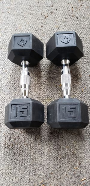 Pair 15 lb of SA Gear Rubber Coated Dumbbells for Sale in Snohomish, WA