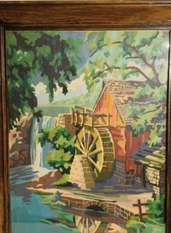 """Vintage framed paint by number water wheel piece 29.5"""" x 23"""" for Sale in Huntington Beach,  CA"""