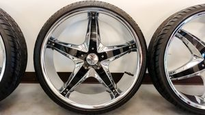 4 LIKE-NEW BZO King Lip 22 inch CHROME rims ***WITH NEW TIRES*** for Sale in Houston, TX