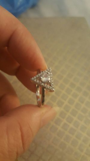 Real 925 sterling silver white sapphire wedding ring size 8 for Sale in Moreno Valley, CA