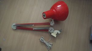 Vintage Red LUXO Brand Swing Arm Clamping Desk Lamp Overhead Light Union Made Label Works Great 60's 70's for Sale in Phoenix, AZ