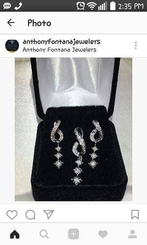 10Kt White Gold Diamond Earrings and Matching Chain with Diamond Pendant for Sale in Philadelphia, PA