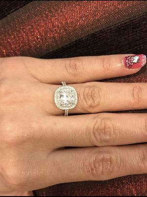 👰18K Gold plated Engagement Ring- Gorgeous Square Cut -Double Row Ovalis for Sale in Houston, TX