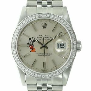 Rolex Mens Datejust Watch Stainless Steel Silver Mickey Mouse Motif 36mm for Sale in Westminster, CA