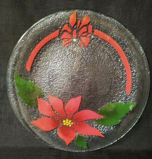 """Vintage Collectible Art Glass Christmas Serving Plate Tray Platter or Candle Holder Centerpiece 11"""" Excellent Condition for Sale in Tacoma, WA"""