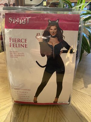 Spirit Halloween Feline women's cat outfit with necklace and choker. If you go out and buy the cat gemstone decal for your face that will complete th for Sale in Lakeland, FL