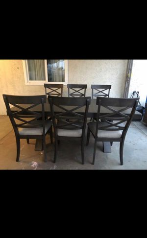 Antique brown wire brushed finish wood dining table set for Sale in Riverside, CA