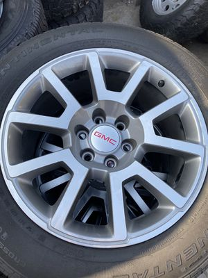 20 inch GMC Wheels with 275/55r20 Continental tires with low tread! Tire pressure sensors are in tact! Located in Buena Park! for Sale in Huntington Beach, CA
