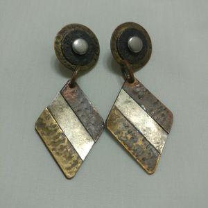 GEOMETRIC DANGLE EARINGS ⚫ TRI-TONE METAL ⚫AGED METAL ⚫ COPPER ⚫ SILVER ⚫GOLD ⚫ GEOMETRIC DIAMOND SHAPE ⚫ 2 INCHES for Sale in Saginaw, TX