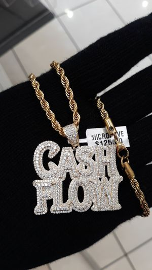 14k gold finish fully icedout Cash flow pendant with rope chain for Sale in Los Angeles, CA