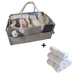 On Sale- Baby Diaper Caddy Organizer + 6 Washcloths Set-Extra Soft, Bamboo for Sale in Avon, MA