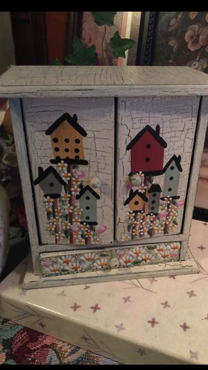 """Shabby chic"""" sweet little cabinet shelves & draw wood Bird house design & flowers 12 inches high 9 wide Nice little storage jewelry """" chest for sma for Sale in Northfield, OH"""