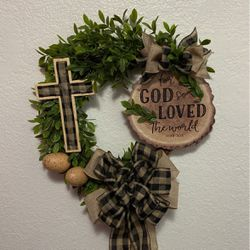 For God Is Love With Buffalo Plaid Cross & Bow Wreath for Sale in Delano,  CA