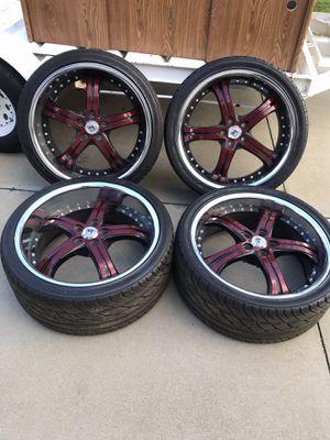 22 inch Custom Lexani Red/Black Rims for Sale in Rancho Cucamonga, CA