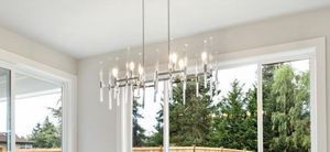 Minka Lavery Pillar Chrome Kitchen Island Light Transitional Clear Glass Linear Pendant Light for Sale in Seattle, WA