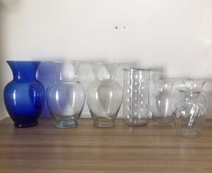 7 glass flower vases clear and blue vase large medium small for Sale in Tempe, AZ
