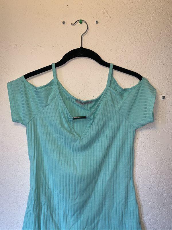 Papaya Turquoise shirt w/ gold detail