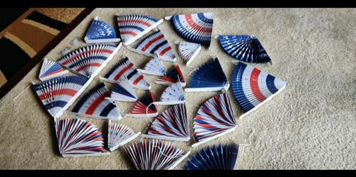4th of July Decor - American Flag Style Party Decoration - Red, White & Blue Fans (Set of 12) 2sets included for Sale in NO POTOMAC,  MD