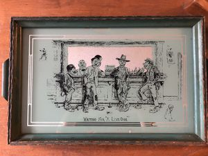 "Glass green serving tray wall Art Deco Antique scene from a bar ""waiting for a live one"" men drinking smoking Man Cave Beer Antique for Sale in Tampa, FL"