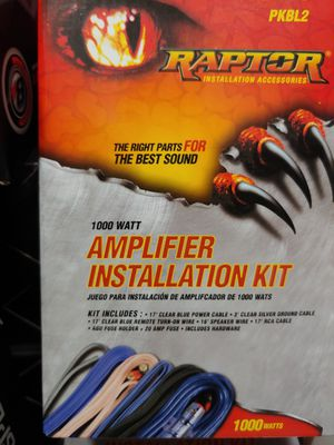 Amp kit : Raptor 1000 watts 8 gauge amplifier installation klt (17 blue power, remote,rca cable 16 ft sp wire 20 30 40 fuses & holder) for Sale in Bell Gardens, CA