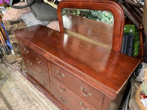 Wooden Dresser w/ mirror for Sale in Houston, TX