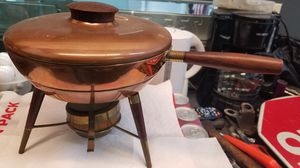 Globe Brass & Copper Fondue Pot Chafing Dish w/ Brass Stand & Burner for Sale in Fort Lauderdale, FL