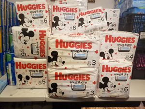 huggies snug & dry. 3 packages for $20. Available sizes 6,5,4,3,. Firm price only to pick up area 249 and bammel for Sale in Houston, TX
