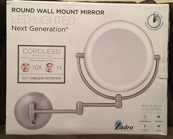 Zadro 10X/1X Dual-Sided Round LED Lighted Wall Mount Mirror in Satin Nickel