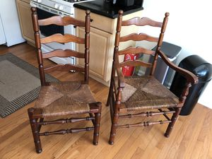 Ladder back cherry finish -matching one with arms for Sale in Cheswick, PA
