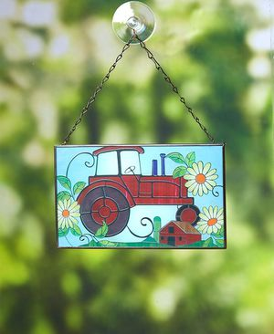 NEW Red Tractor Stained Glass-Sun Catcher for Sale in Fullerton, CA