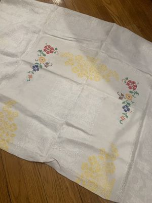 """Antique Vintage Linen cloth with Cross Stitch motif 50"""" x 69"""" for Sale in Chicago, IL"""