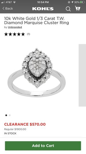 10k White Gold 1/3 Carat T.W. Diamond Marquise Cluster Ring Size 7 for Sale in Fresno, CA