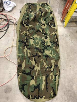 Military Outdoor Clothing Previously Issued U.S. G.I. Woodland Camo Gore-Tex Bivy Sleeping Bag Cover for Sale in Pleasant Hill, CA