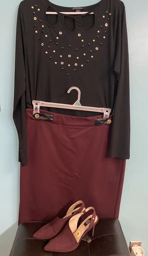 Black and Burgundy outfit sets size L (with the beautiful heels size 9 ) for Sale in Bakersfield, CA