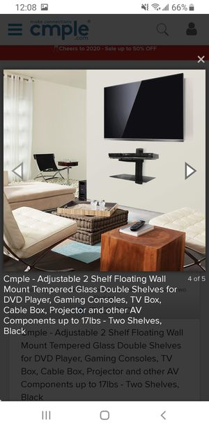 BRAND NEW BLACK FLOATING GLASS WALL MOUNT CABLE BOX/ GAME CONSOLE SHELVES for Sale in Pittsburgh, PA