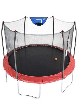 SkyWalker 12ft Trampoline in Red With Basketball Hoop for Sale in Federal Way, WA