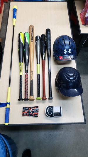 Youth Baseball bats, helmets, elbow guard, forearm guard and baseball bag for Sale in Daly City, CA