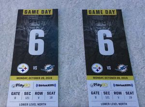 Steelers vs Dolphins- 2 LOWER LEVEL Tickets for Sale in Camp Hill, PA