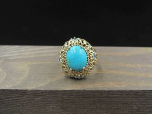 Size 5.25 Sterling Silver Vermeil Blue Stone & Aqua Gem Band Ring Vintage Statement Engagement Wedding Promise Anniversary Cocktail for Sale in Lynnwood, WA