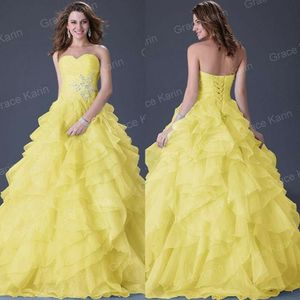 Grace Karin Yellow Strapless Organza Ball Gowns Wedding Party Dresses Prom Dress SL for Sale in Las Vegas, NV
